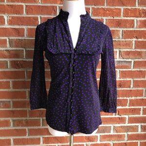 Purple Polka Dot Ruffle Blouse Top - Size S